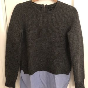 J.Crew grey sweater with shirting detail